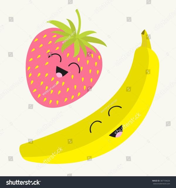 banana and strawberry. happy fruit