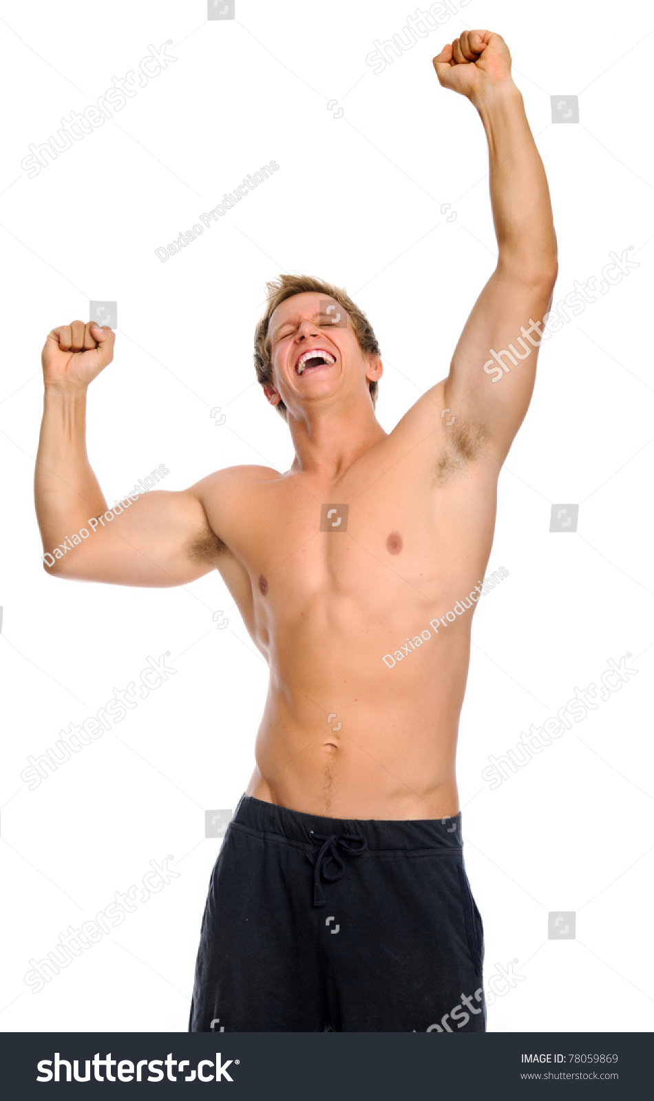 Bare Chested Athletic Man Raises His Arms Up In Triumph Stock Photo 78059869 : Shutterstock