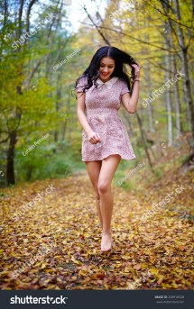 Barefoot Young Woman Pink Dress Outdoor Stock