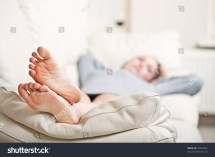 Barefoot Young Woman Lying Sofa Stock 78262852
