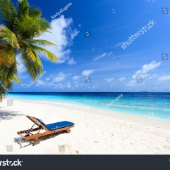 Perfect Beach Chairs Armless Chair Office On Tropical White Sand Stock