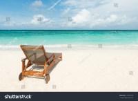 Beach Chair On Tropical Beach Maldives Stock Photo ...