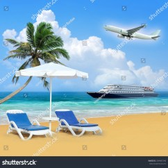 Air Travel Beach Chairs Heywood Wakefield Chair Identification Palm Airplane White Umbrella Stock Photo Edit Now And Concept