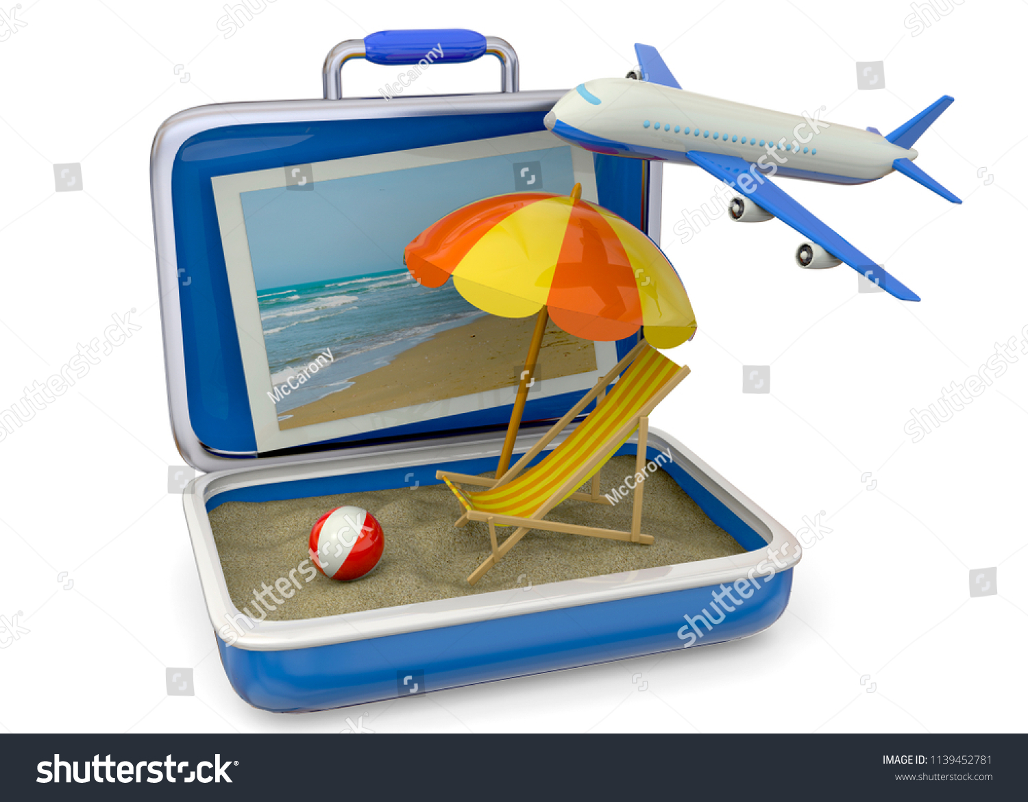 air travel beach chairs best chair hammock stand umbrella life buoy suitcase stock illustration royalty airplane and sand 3d