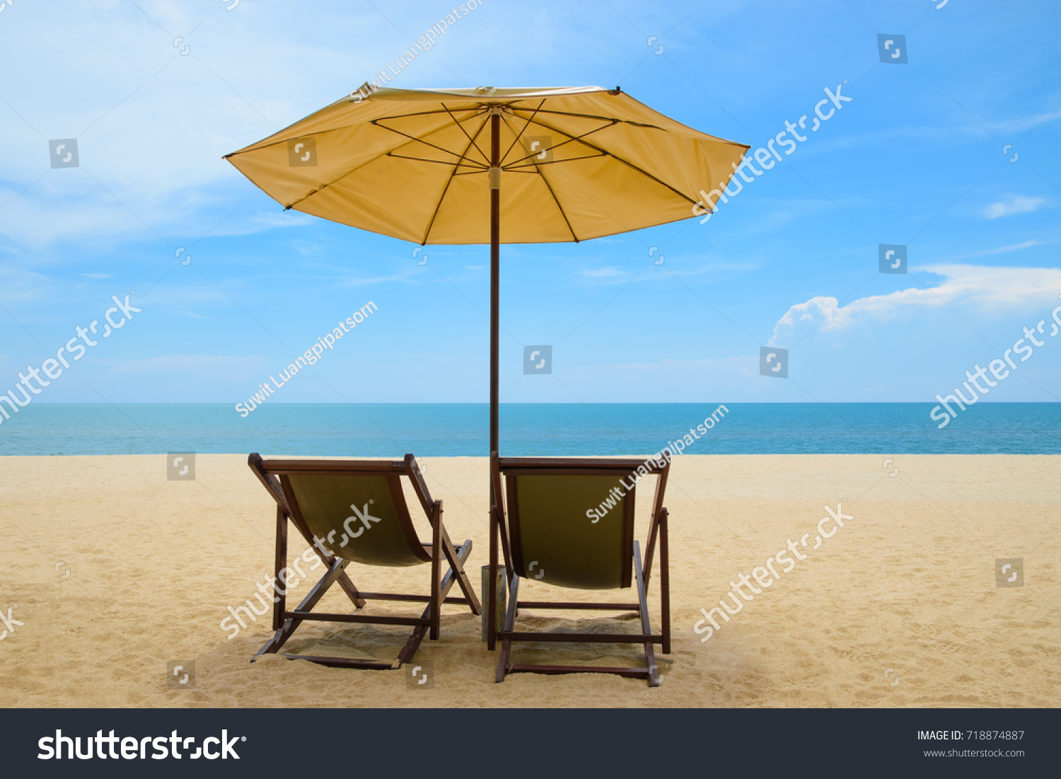 Beach Chairs With Umbrella Beach Chairs Umbrella On Beautiful Sand Stock Photo Edit Now