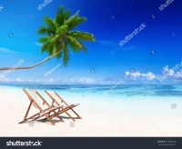 Beach Chairs On Tropical Beach Stock Photo 192636818 ...