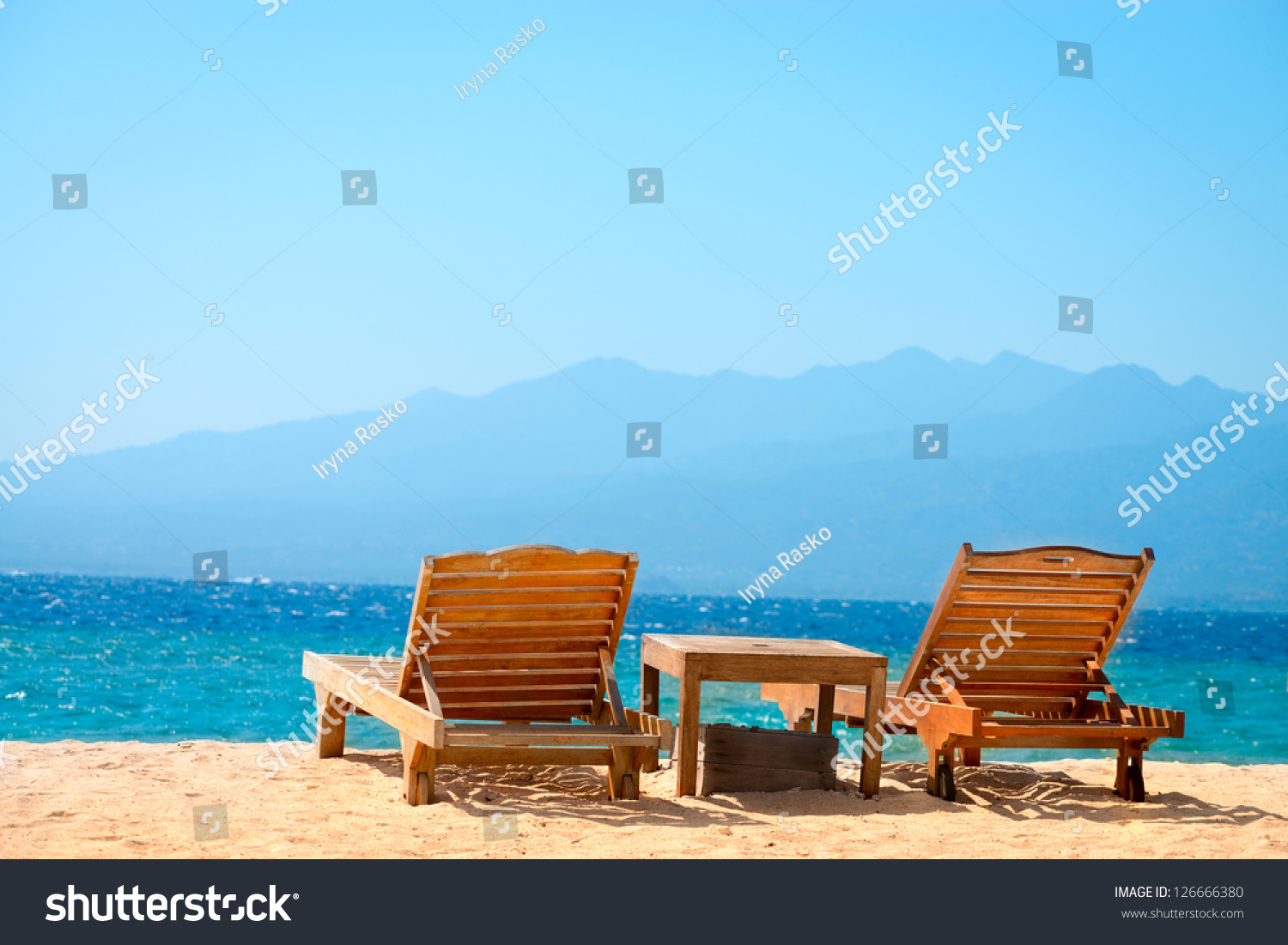 perfect beach chairs best deer blind on tropical yellow stock photo