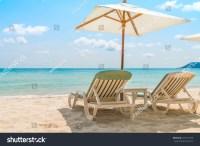 Beach Chairs On Tropical White Sand Beach Stock Photo ...