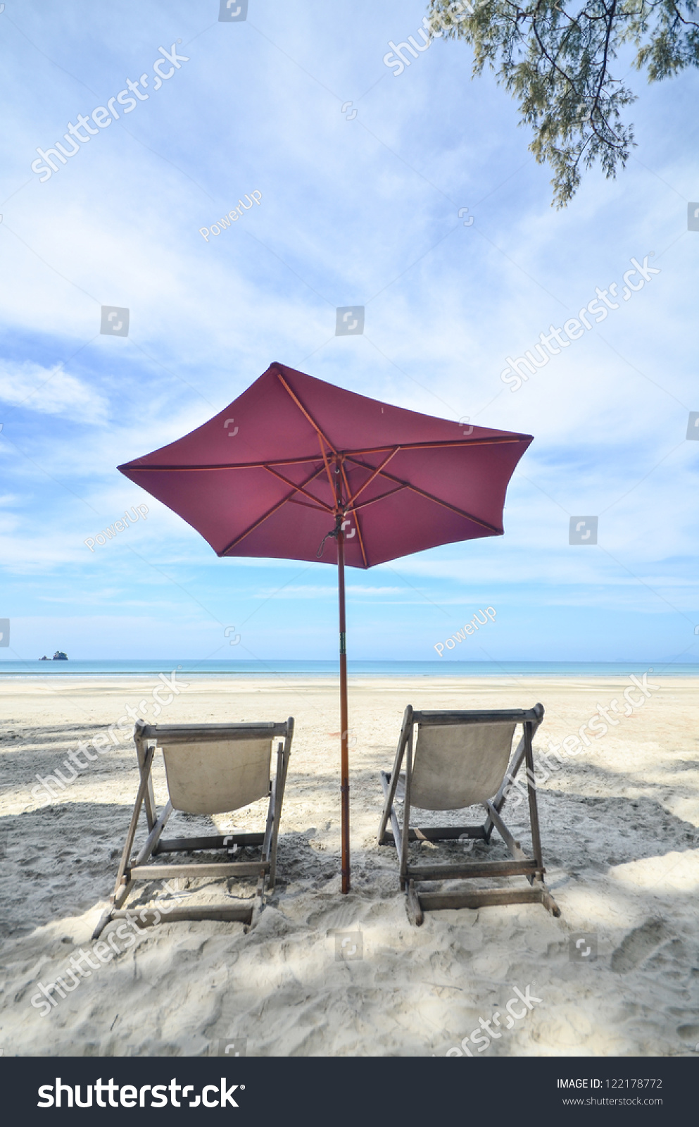 Beach Chairs With Umbrella Beach Chairs Umbrella Stock Photo Edit Now 122178772 Shutterstock