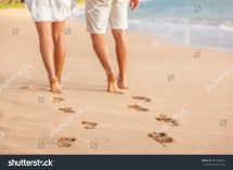 Beach Couple Relaxing Sunset Walking Barefoot Stock