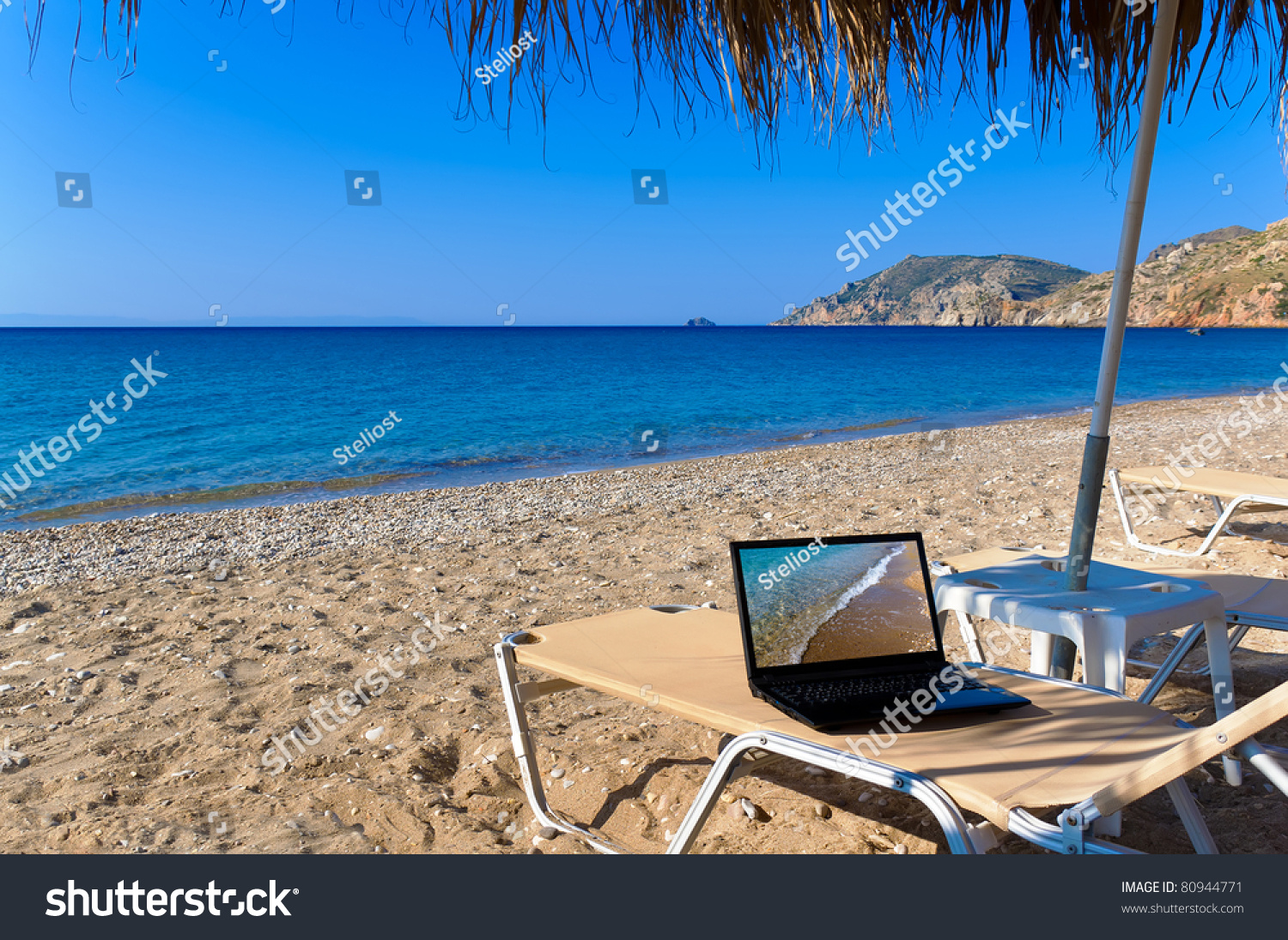 beach lawn chairs wheel chair cushions with laptop stock photo 80944771 : shutterstock