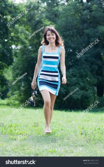 Beautiful Barefoot Woman Walking Lawn Stock