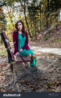 Beautiful Barefoot Young Woman Green Dress Stock