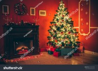 Beautiful Christmas Living Room Decorated Christmas Stock ...