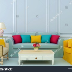 Bright Colored Sofa Pillows Comfortable Bed Singapore Beautiful Composition Of Blue And Chairs With
