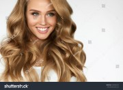 beautiful curly hair smiling girl