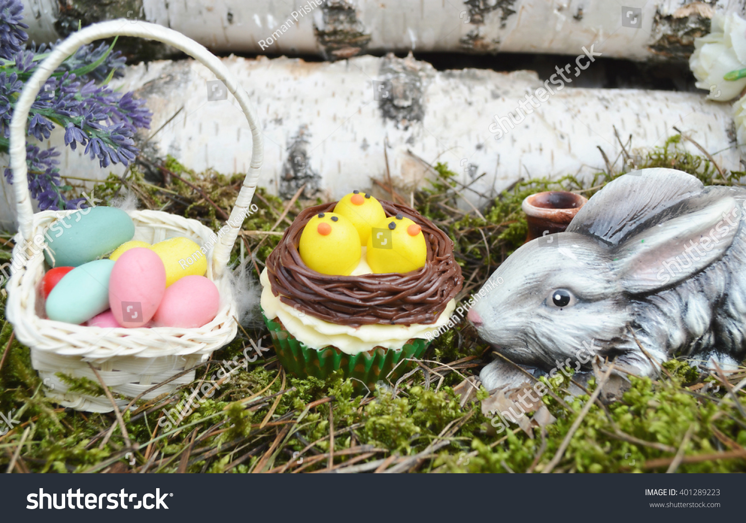Beautiful Cute Easter Cupcakes Easter Decorations Stock