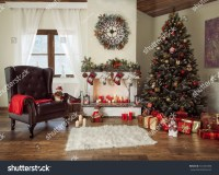 Beautiful Decorated Living Room Christmas Tree Stock Photo ...