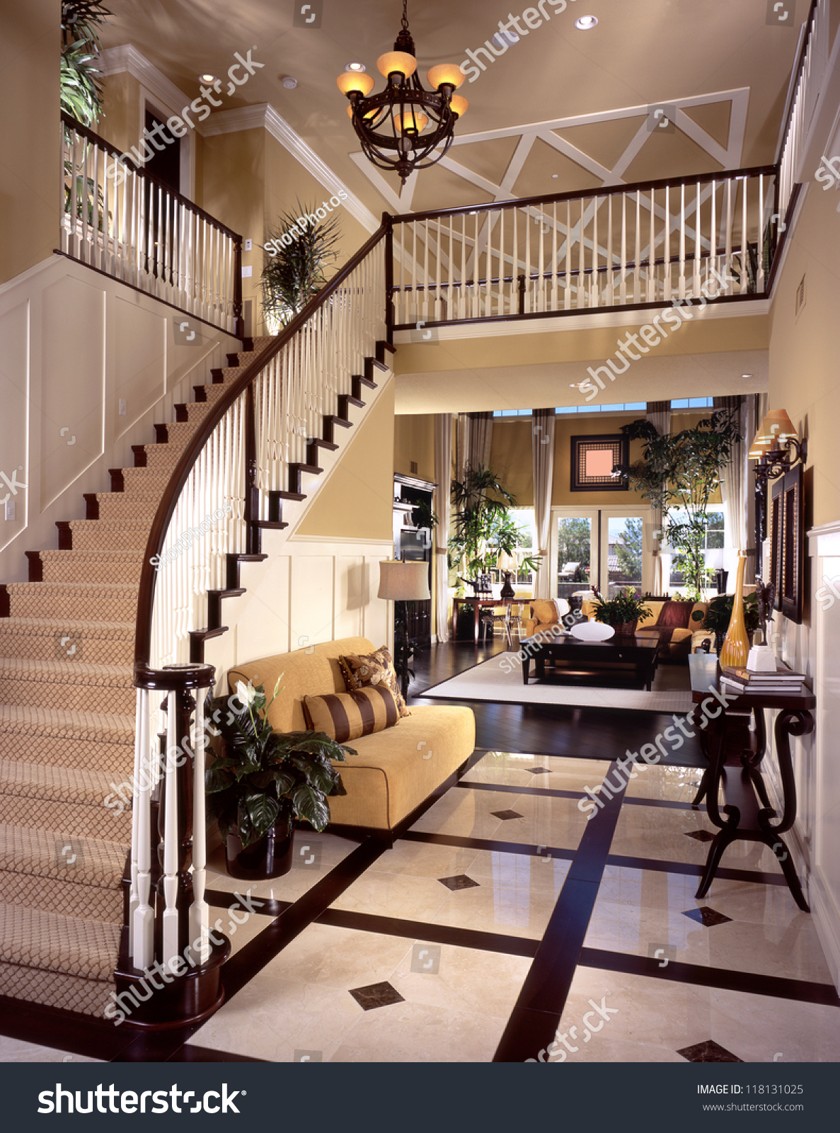 Beautiful Entry Staircase This Luxury Stairway Stock Photo