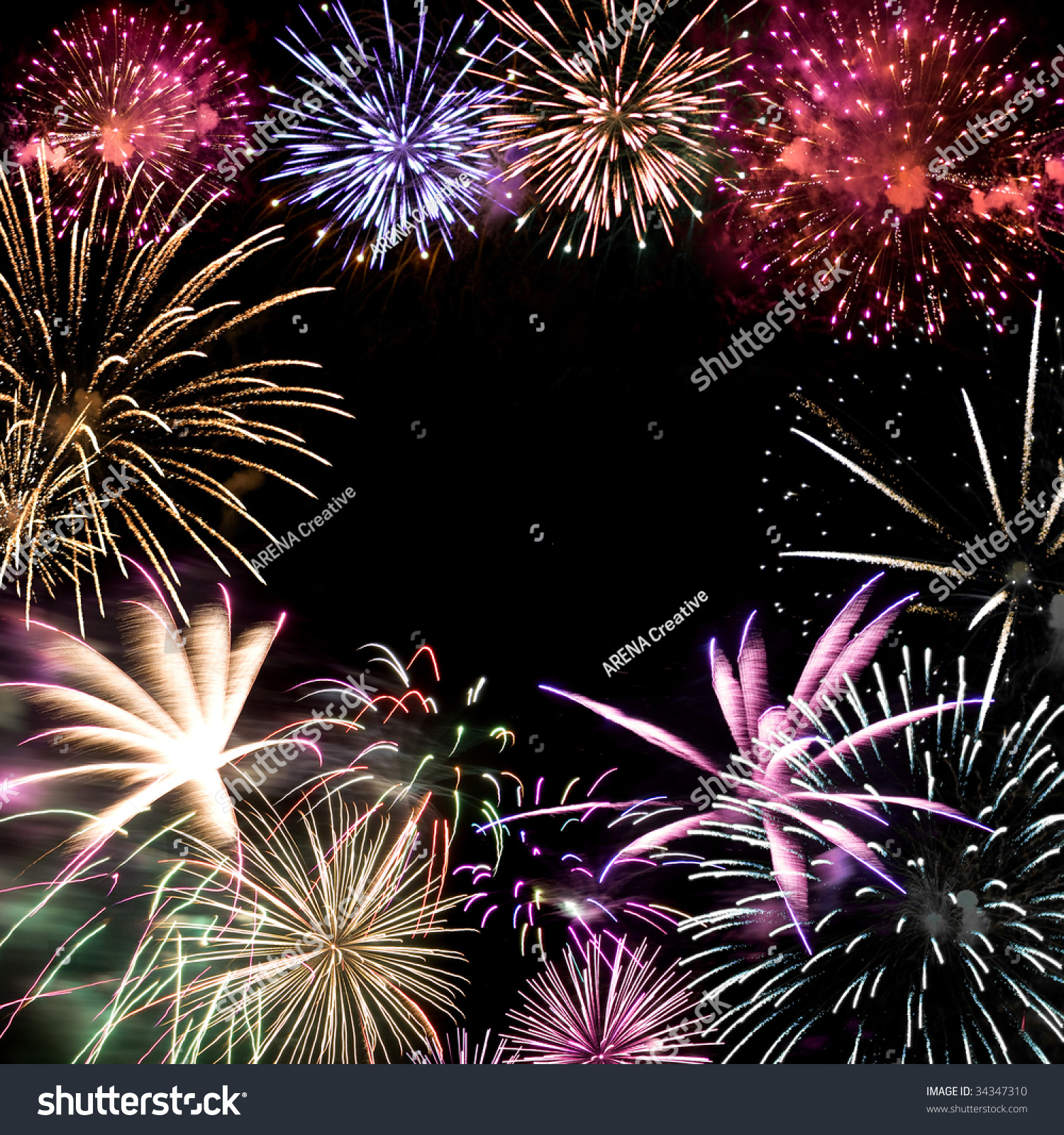 Beautiful Fireworks Exploding Over A Dark Night Sky With Copy Space In The Center. Stock Photo 34347310 : Shutterstock