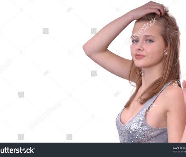 Beautiful Fresh Faced Teen Model Shot In Studio On White