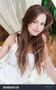 beautiful girl long brown hair