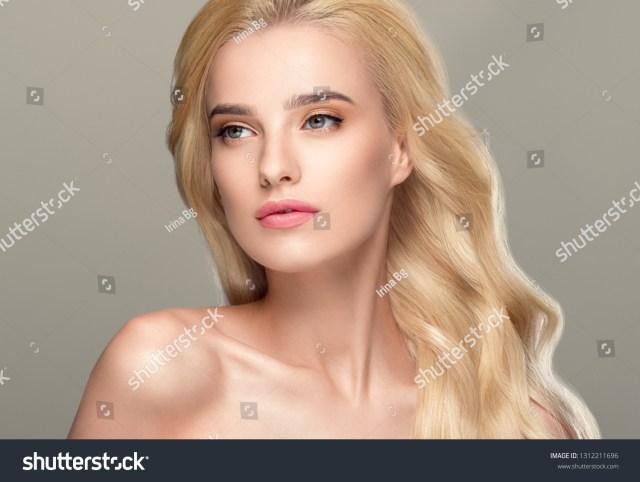 beautiful hair woman blonde long hairstyle stock photo (edit