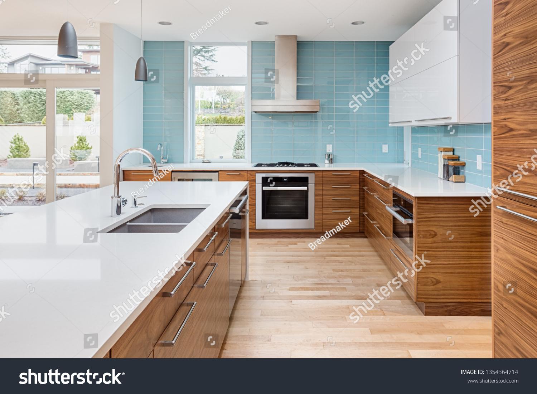 https www shutterstock com image photo beautiful kitchen contemporary luxury home waterfall 1354364714