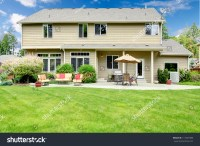 Beautiful Large House Backyard Sitting Area Stock Photo ...