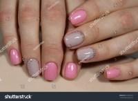Beautiful Light Pink Nails Rhinestones Manicure Stock ...