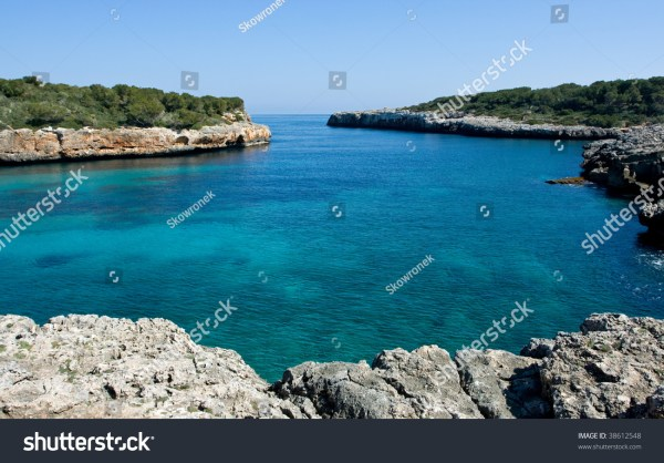 Beautiful Mediterranean Bay With Blue Water On The Majorca ...