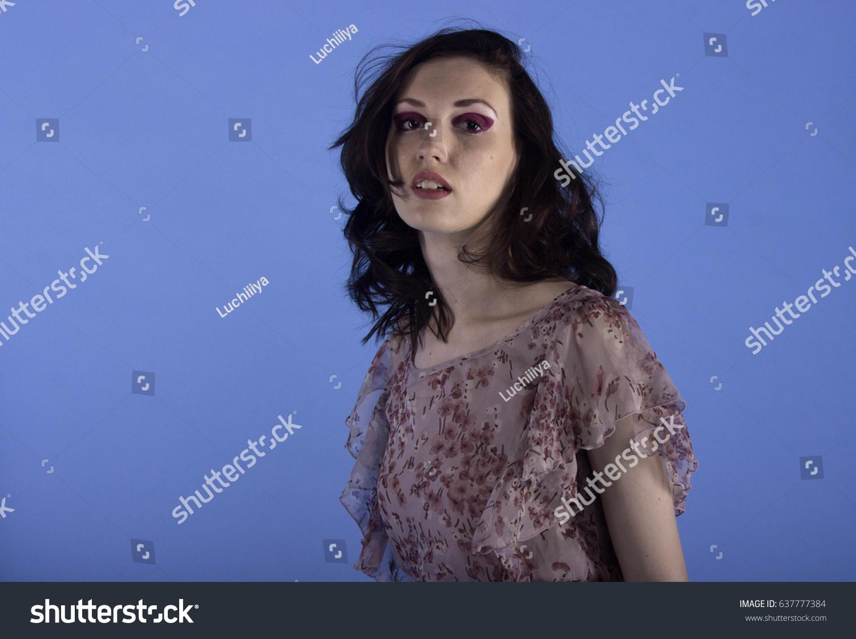 beautiful model posing pink dress on stock photo 637777384