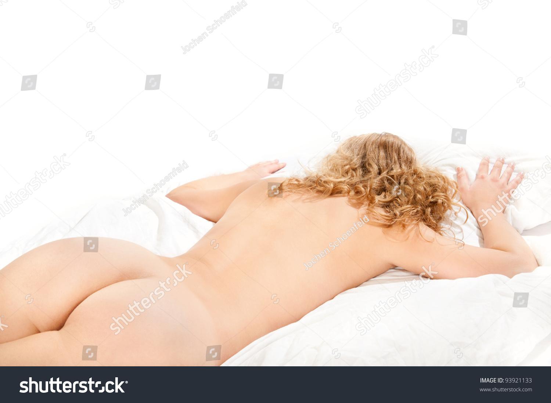 Beautiful Nude Woman Lying On White Stock Photo 93921133