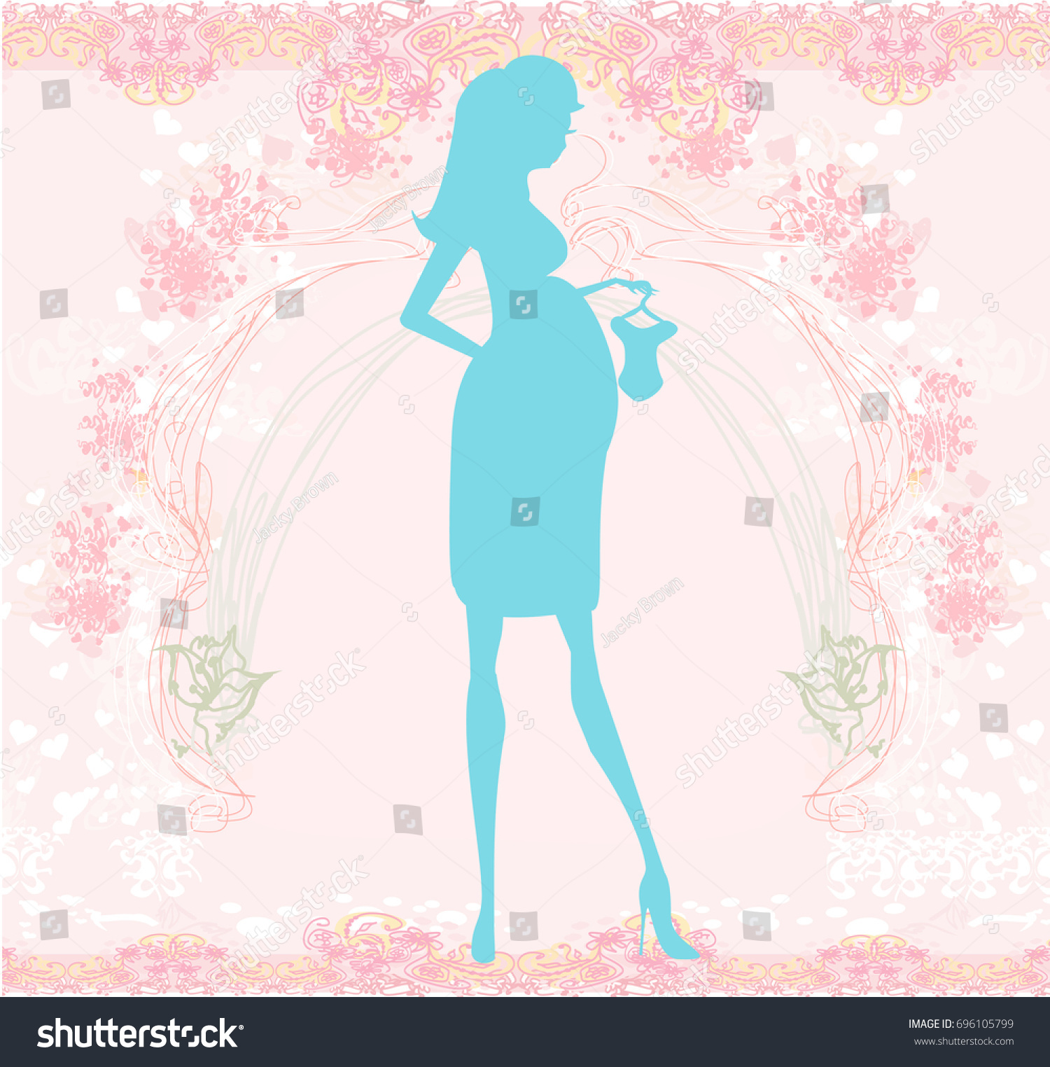 hight resolution of beautiful pregnant woman on shopping for her new baby abstract background