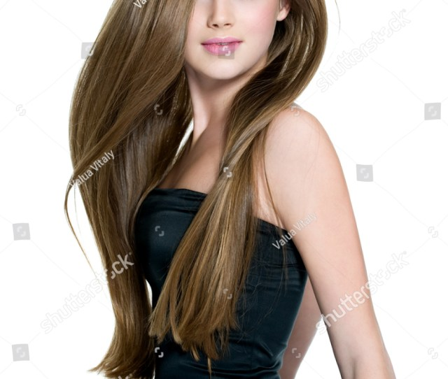 Beautiful Teen Girl With Long Straight Hair Posing On White Background
