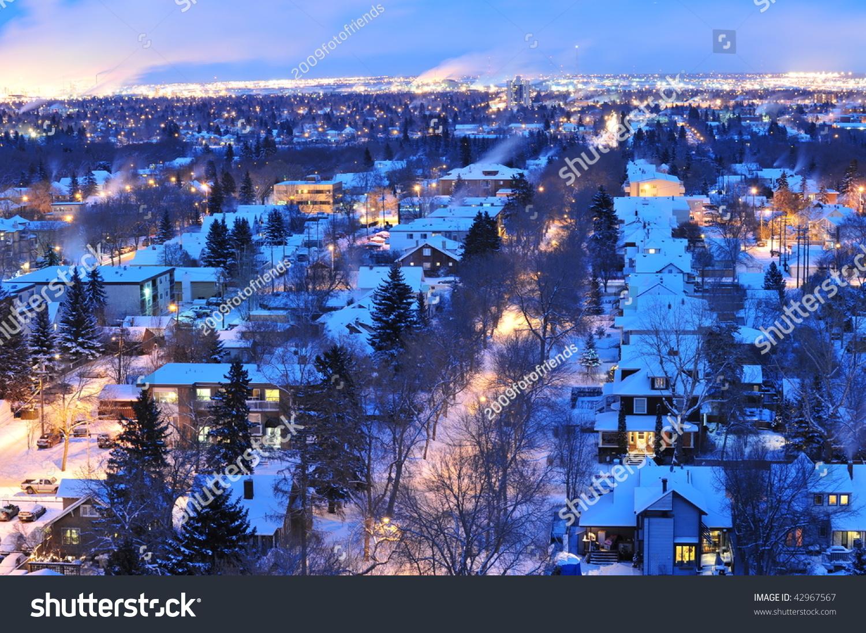 Beautiful Winter Night Scene City Edmonton Stock Photo