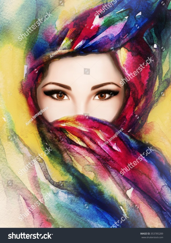 Beautiful Woman Painting Face Abstract Art