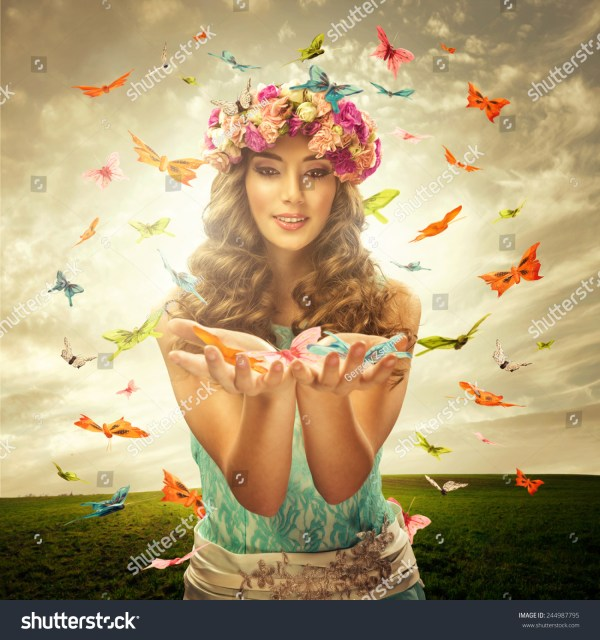 Beautiful Woman with Butterfly