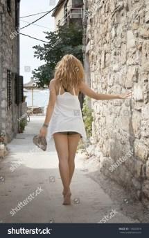 Beautiful Woman Walking Barefoot Street Stock