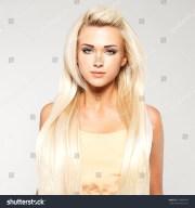 beautiful woman long straight blond