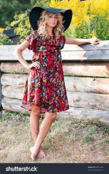 Beautiful Young Blond Woman Big Hat Stock 59912296