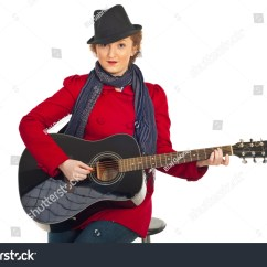Best Chair For Guitar Playing Mat High Pile Carpet Beauty Woman With Black Hat And Red Jacket Sitting On