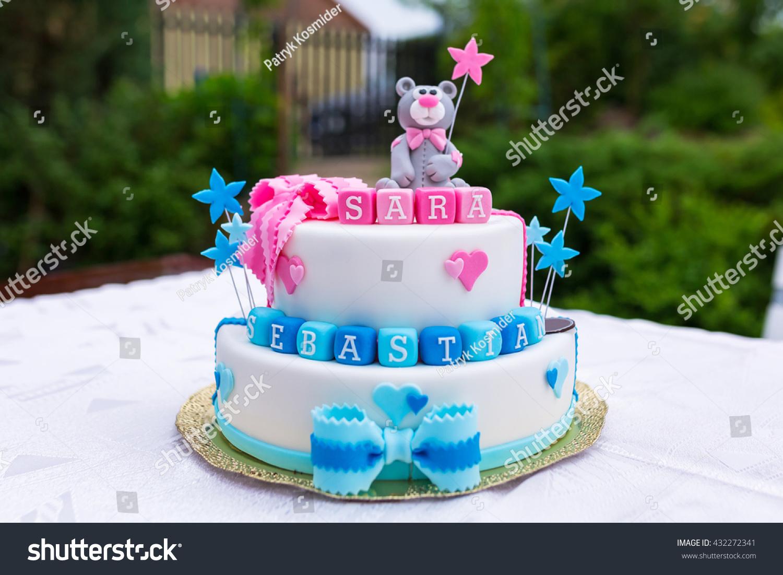 Birthday Cake Baby Boy Girl Twins Stock Photo