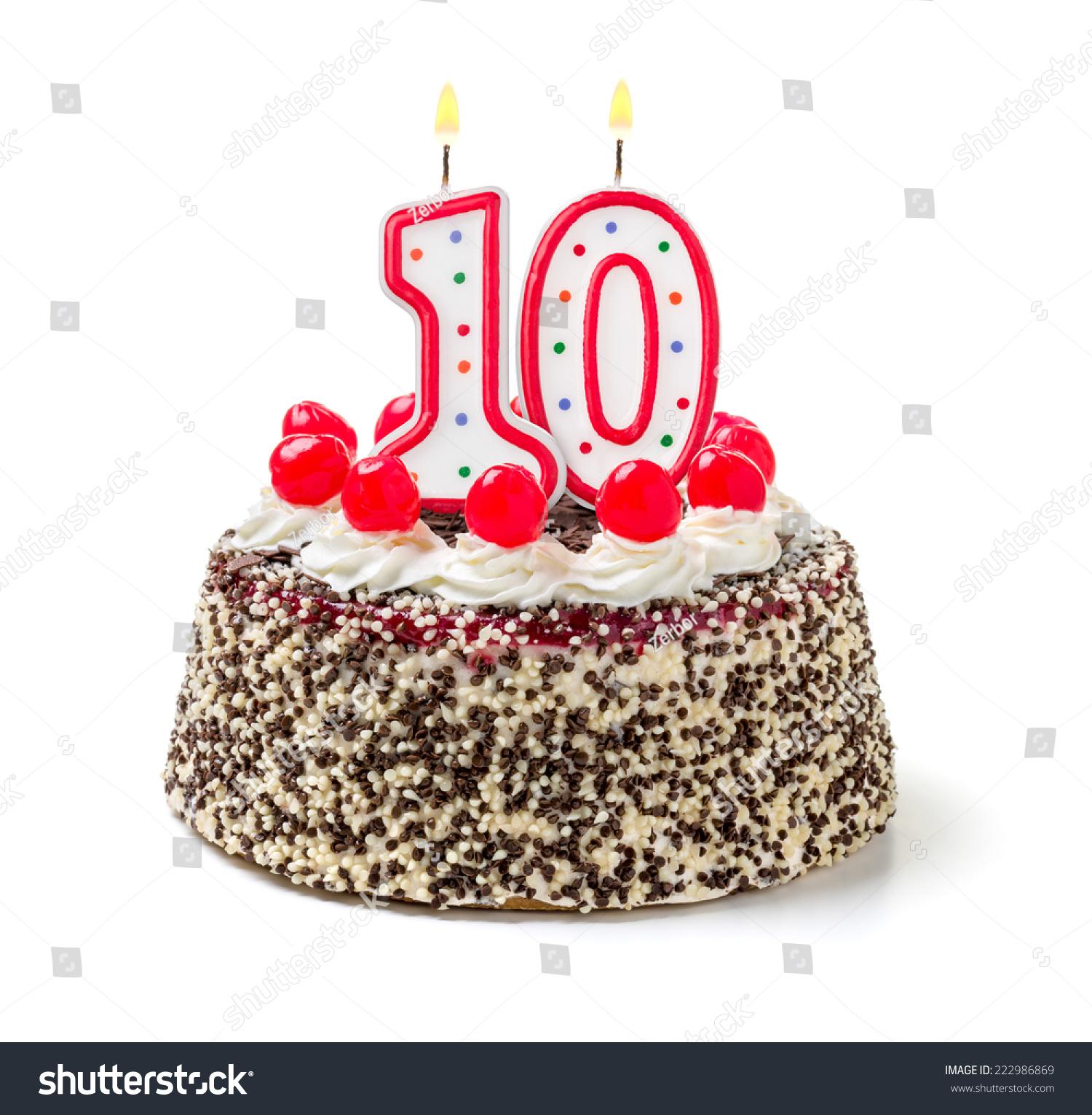 Birthday Cake With Burning Candle Number 10 Stock Photo
