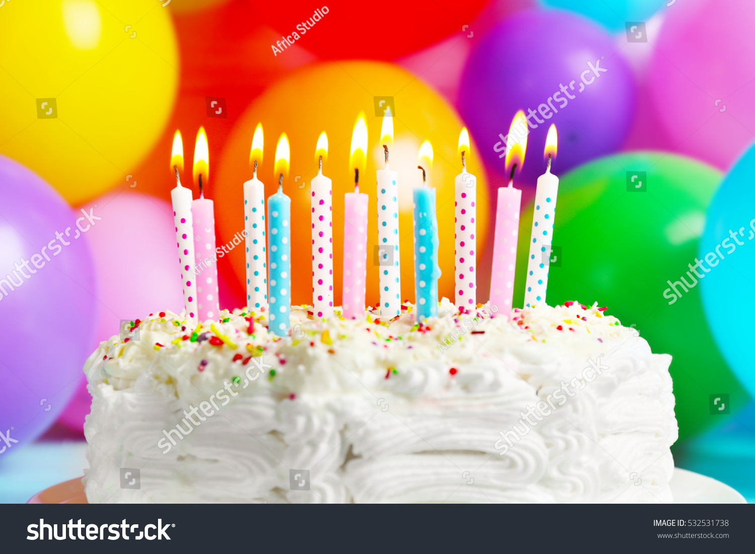 Birthday Cake Candles On Balloons Background Stock Photo