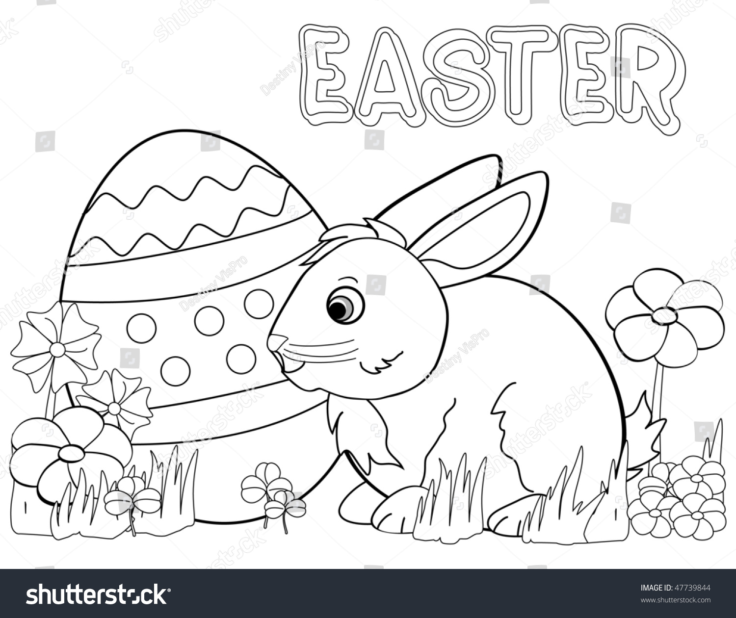 Black And White Coloring Template For Easter Bunny Amp Egg