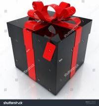 Black Gift Box Red Ribbon On Stock Illustration 115096834 ...