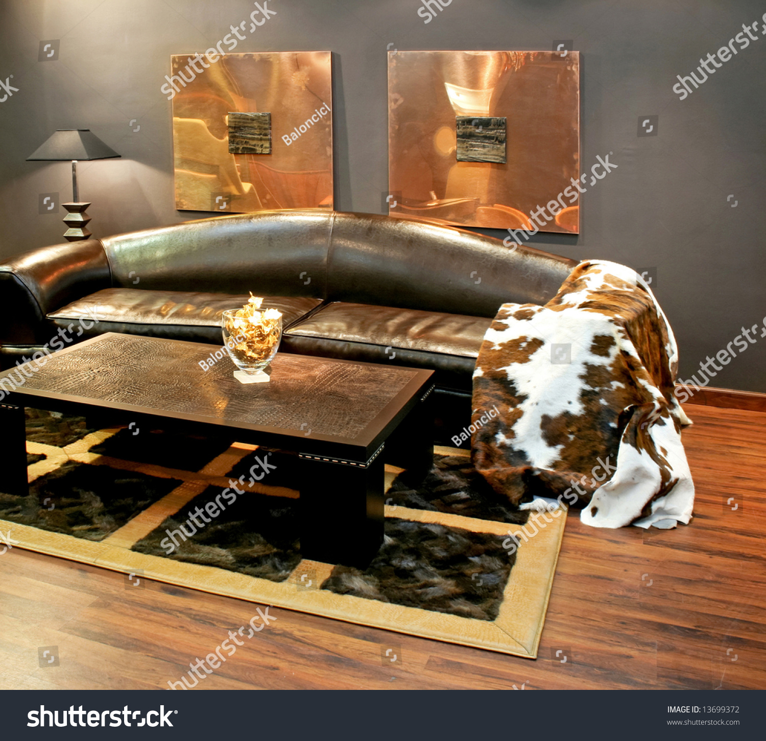 https www shutterstock com image photo black leather sofa cowhide cover pillows 13699372
