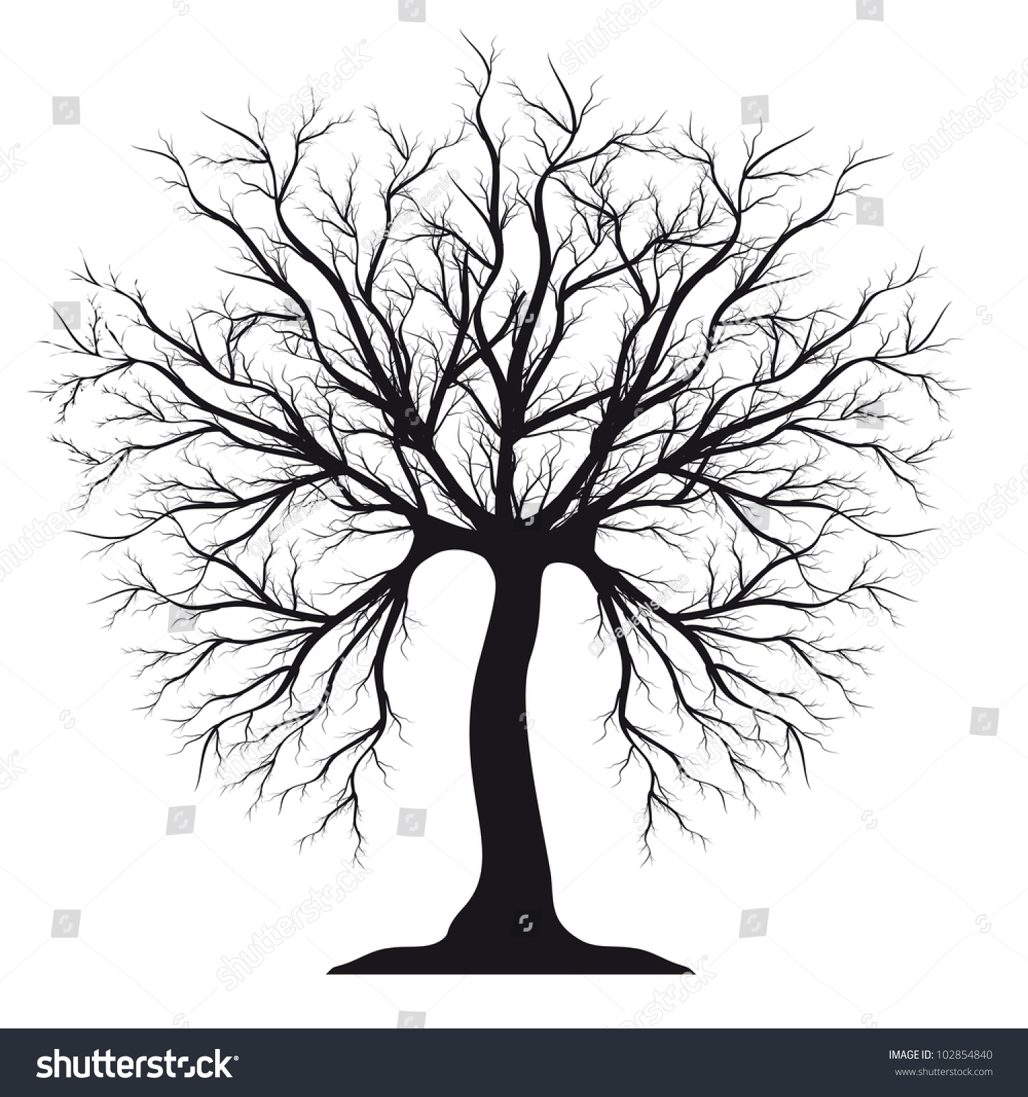 Black Silhouette Tree Without Leaves Stock Illustration