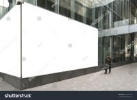 Blank Billboards Located On Glass Wall Stock Photo ...